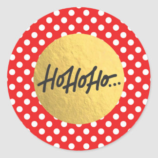 HO HO HO Christmas Holiday Polka Dots Gold Foil Classic Round Sticker