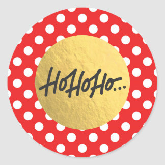HO HO HO Christmas Holiday Red White Polka Dots Classic Round Sticker