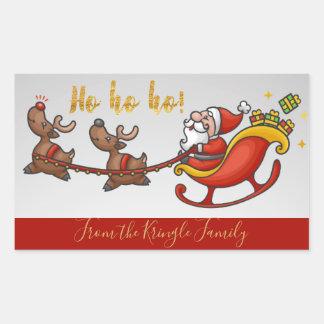 Ho Ho Ho Cute Santa Claus Personalized Christmas Rectangular Sticker