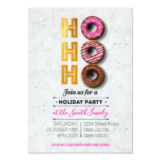 HO! HO! HO! Holiday Donuts Party Card