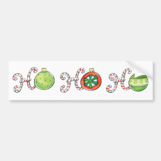 Ho Ho Ho in Candy Canes and Christmas Ornaments Bumper Stickers