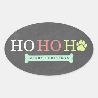 Ho Ho Ho Paw Paw Print Christmas - Multi Oval Sticker