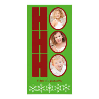 HO HO HO Photo Holiday Card Green and Red