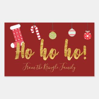 Ho Ho Ho Red Gold Personalized Cute Christmas Rectangular Sticker