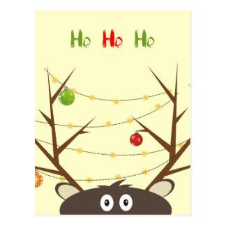Ho Ho Ho Reindeer Postcard