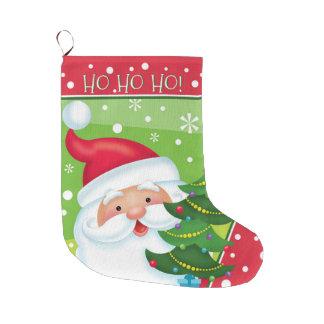 HO HO HO Santa and Tree Stocking