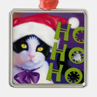 Ho Ho Ho Santa Cat sq.Ornament Silver-Colored Square Decoration