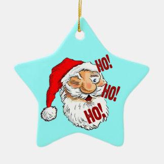 Ho Ho Ho Santa Claus Ceramic Star Decoration