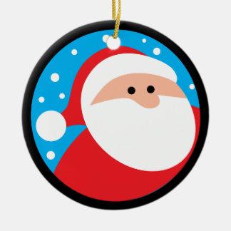 Ho Ho Ho! Santa Claus Double-Sided Ceramic Round Christmas Ornament
