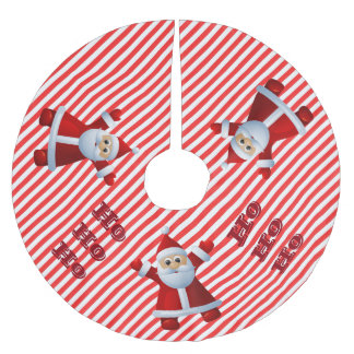 HO! HO! HO! Santa Claus Merry Christmas Candy Cane Brushed Polyester Tree Skirt