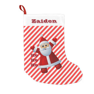 HO! HO! HO! Santa Claus Merry Christmas Candy Cane Small Christmas Stocking