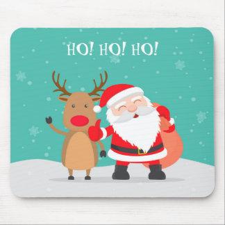 Ho! Ho! Ho! Santa Claus with Rudolph Mousepad
