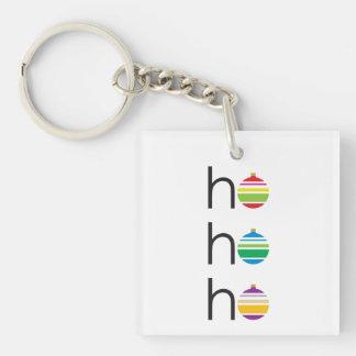 """""""ho ho ho"""" Santa Greeting Holiday Christmas Double-Sided Square Acrylic Key Ring"""