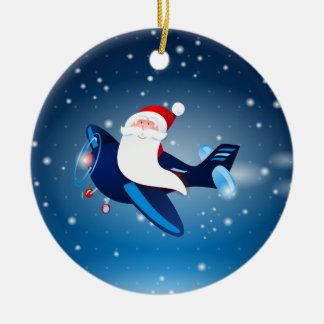 Ho ho ho! Santa on the airplane, ornament