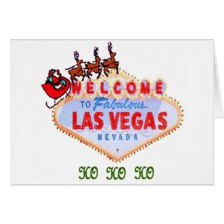 HO HO HO Santa & Reindeers on Las Vegas Sign Cards