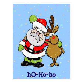 ho-ho-ho Santa & Rudy Postcard
