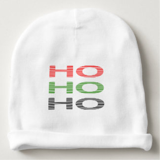 HO HO HO - strips - red, green, red. Baby Beanie