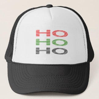 HO HO HO - strips - red, green, red. Trucker Hat