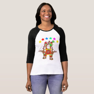 Ho Ho Santa  Rain dear Christmas Eve with Snow T-Shirt