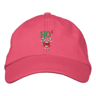 Ho Times Three Candy Canes Embroidered Baseball Cap