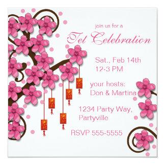 """Hoa Dao Happy New Year 5.25"""" Square Invitation Card"""