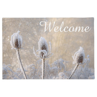 Hoarfrost on Teasels Winter Scenic Nature  Welcome Doormat