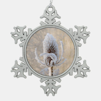 Hoarfrost Teasels Winter Photo Scenic - Xmas decor Snowflake Pewter Christmas Ornament