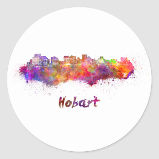 Hobart skyline in watercolor classic round sticker