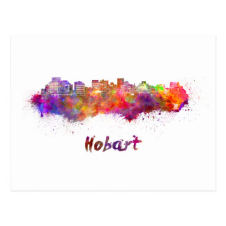 Hobart skyline in watercolor postcard