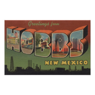 Hobbs, New Mexico - Large Letter Scenes Poster