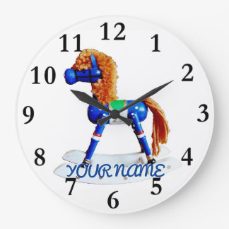Hobby Horse with Name Large Clock