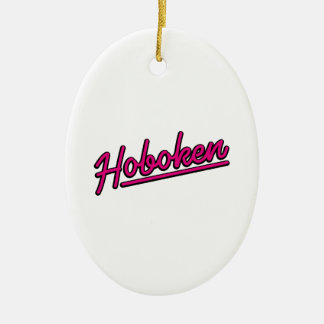 Hoboken in magenta ceramic ornament