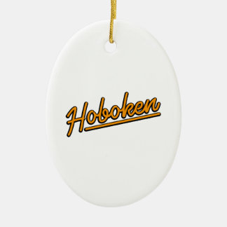 Hoboken in orange ceramic ornament