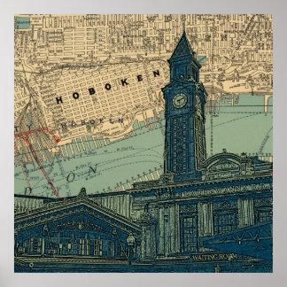 Hoboken NJ Lackawanna train station map background Poster