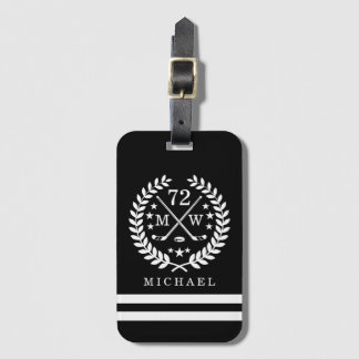Hockey ALL-STAR Custom Initials and Name Black Luggage Tag