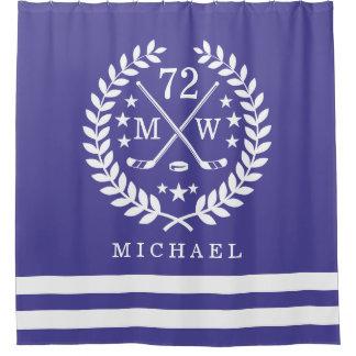 Hockey ALL-STAR Custom Initials   Name Grape Shower Curtain