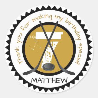 Hockey Birthday Sticker Black and Gold