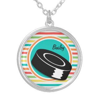 Hockey Bright Rainbow Stripes Custom Necklace