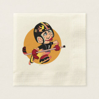 HOCKEY  CARTOON  NAPKINS Coined Cocktail Ecru Disposable Serviette