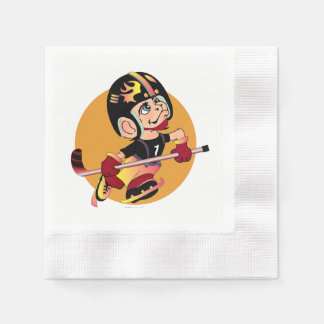 HOCKEY  CARTOON  NAPKINS Coined Cocktail WHITE Disposable Serviette