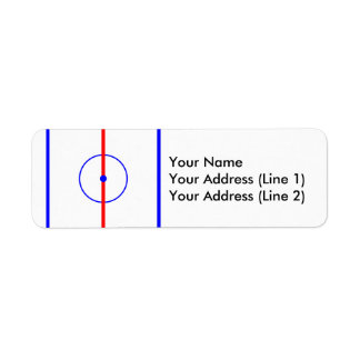 Hockey Centre Ice & Blue Lines Return Address Label