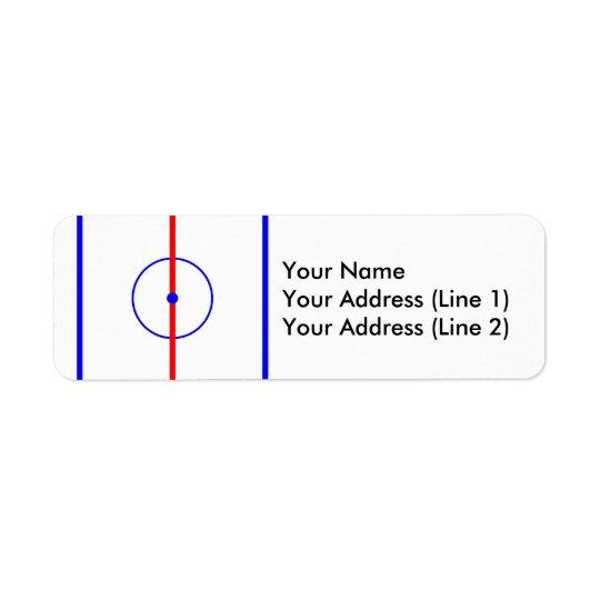 Hockey Centre Ice & Blue Lines Return Address Label