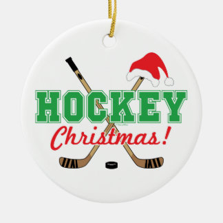 Hockey Christmas Hockey Sticks Santa Hat Ceramic Ornament