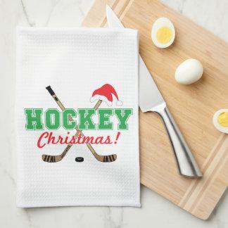 Hockey Christmas Hockey Sticks Santa Hat Tea Towel