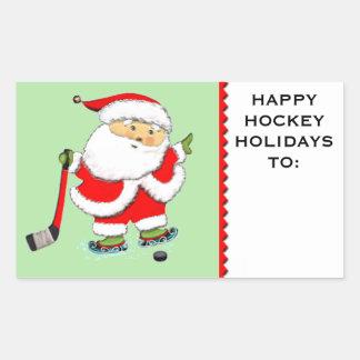 hockey Christmas Rectangular Sticker