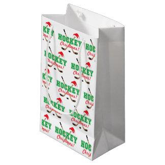 Hockey Christmas Sticks and Santa Hat Small Gift Bag