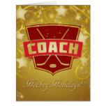 Hockey Coach Red Christmas Card