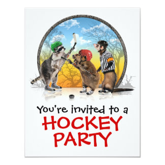 Hockey Critter Classic Party Invitation