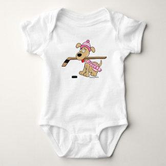 Hockey Dog Baby Girl Pink Baby Bodysuit