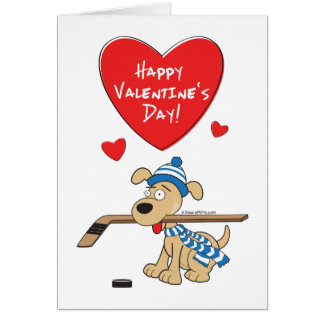 Hockey Dog Valentines Card